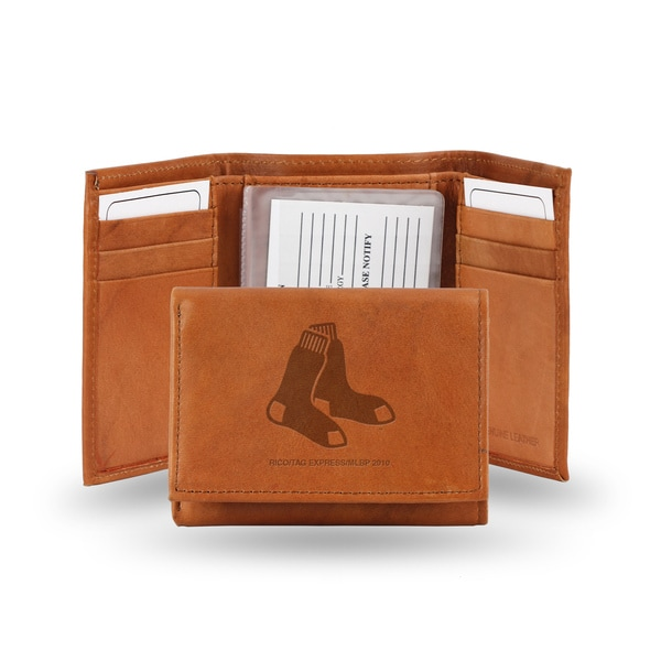 MLB Boston Red Sox Leather Embossed Tri-fold Wallet