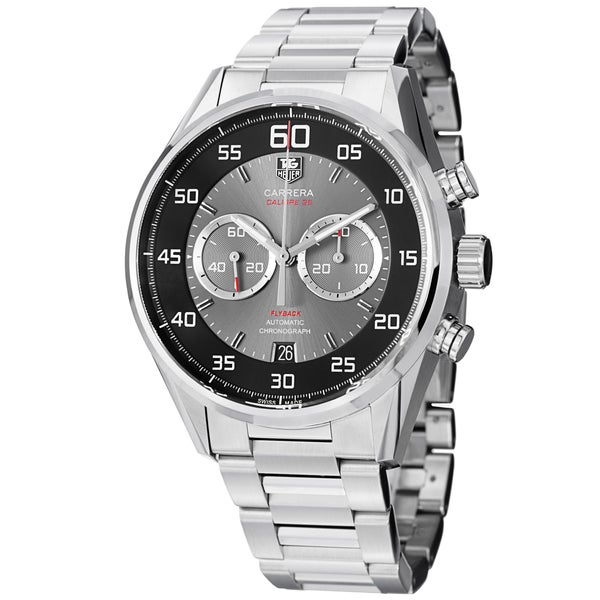 Tag Heuer Men's CAR2B10.BA0799 'Carrera' Black/Grey Dial Stainless Steel Chrono Watch. Opens flyout.
