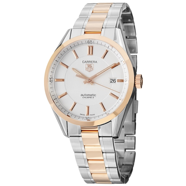 718e8363d688 Shop Tag Heuer Men s WV215E.BD0735  Carrera  Silver Dial Rose Gold ...