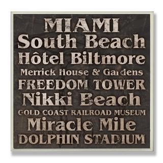 Carole Stevens 'Miami Landmarks' Square Typography Wall Plaque