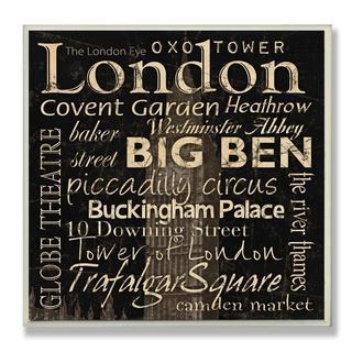 Carole Stevens 'London Landmarks' Square Typography Wall Plaque