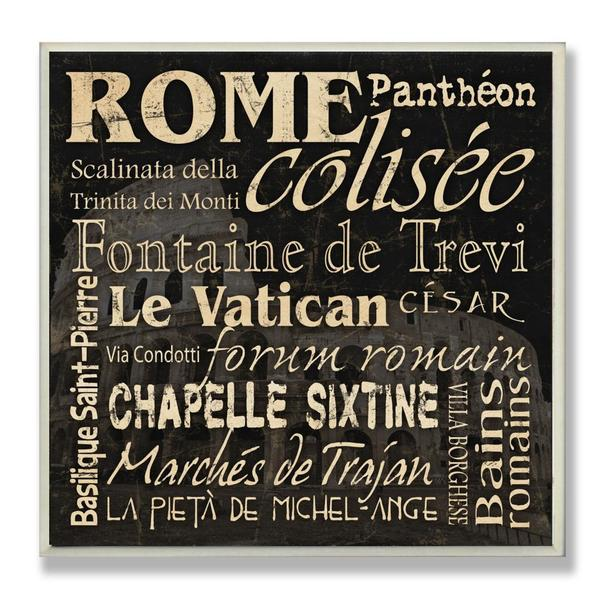 Carole Stevens 'Rome Landmarks' Typography Wall Plaque