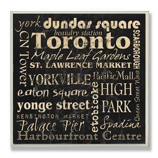 Carole Stevens 'Toronto Landmarks' Square Typography Wall Plaque