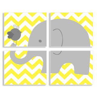 Gray Elephant and Birdie on Yellow Chevron Quadtrich