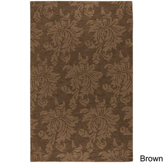 Hand-loomed Otero Solid Tone-on-Tone Contemporary Floral Wool Area Rug (5' x 7'9) - 5' x 7'9 (5 options available)