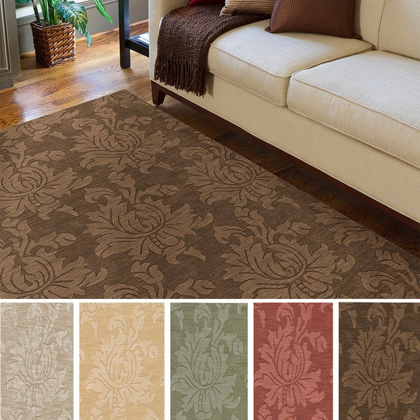 Hand-loomed Otero Solid Tone-on-Tone Contemporary Floral Wool Area Rug - 5' x 7'9