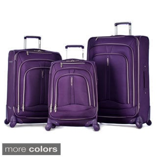 Olympia 'Marion' 3-piece Expandable Spinner Luggage Set with Patented Hidden Luggage Cover