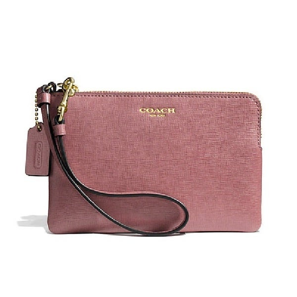 Coach Small Saffiano Leather Wristlet- Light Gold/Rouge