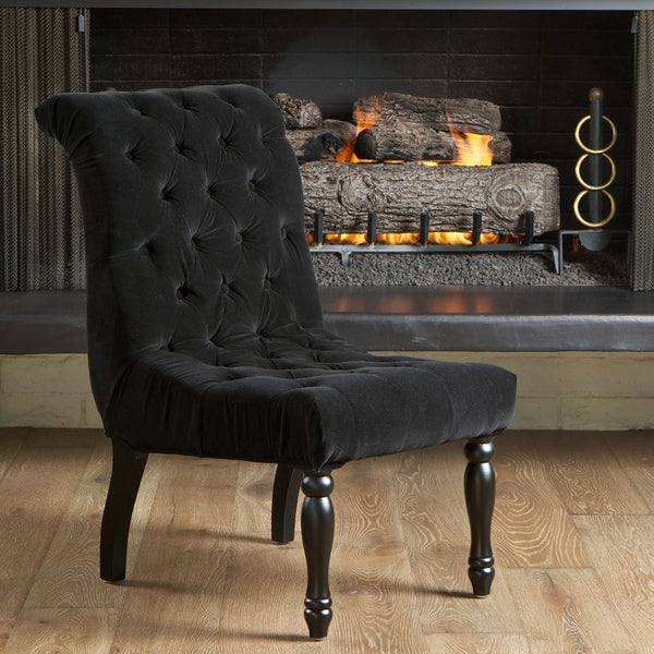 Coleman Black Tufted Velvet Accent Chair by Christopher ...