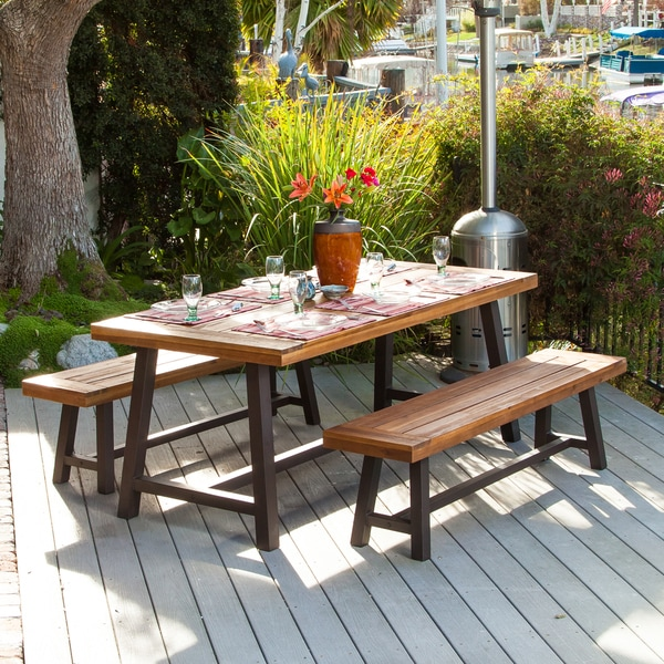 Carlisle Rustic Metal 3-piece Outdoor Dining Set by Christopher ...