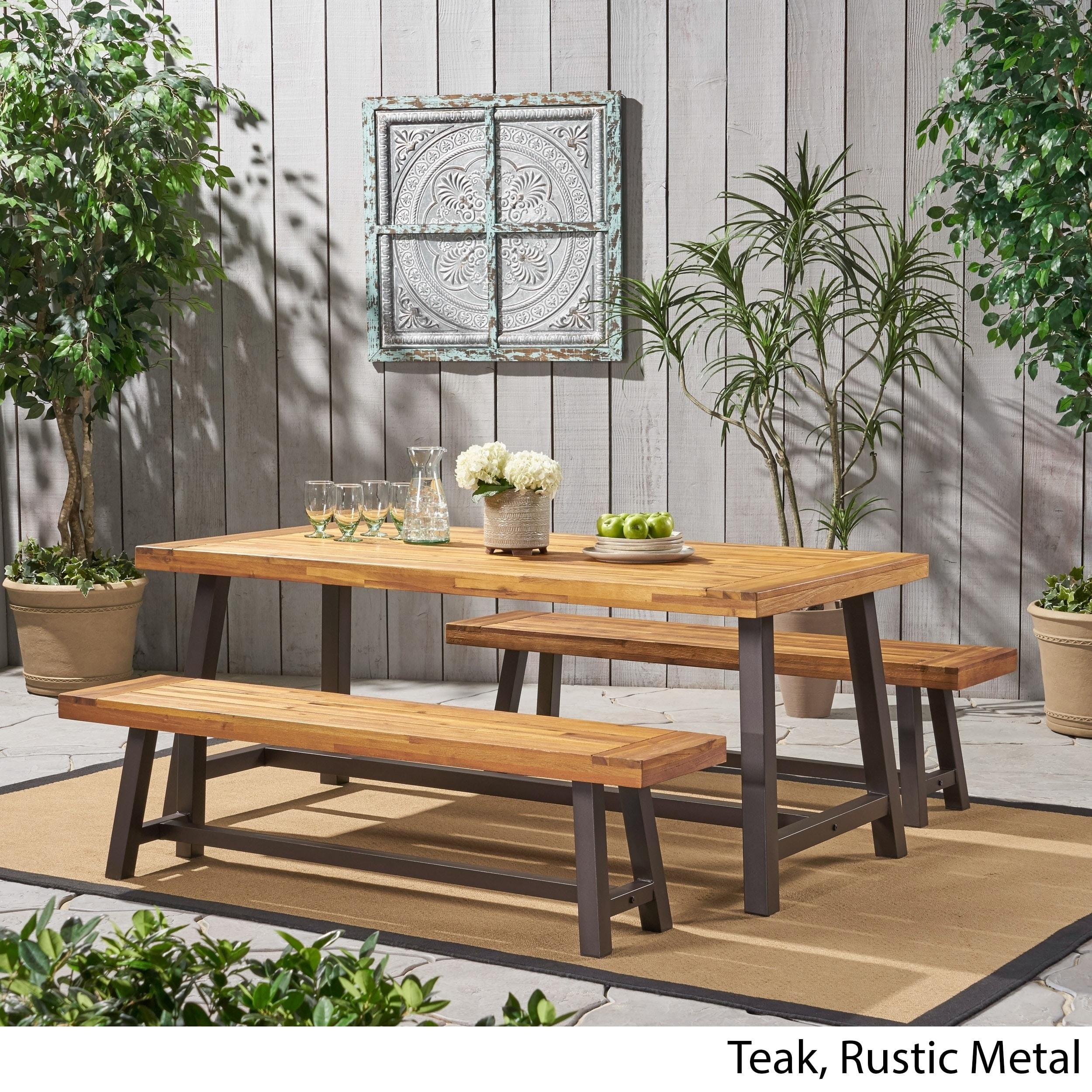 Modern 3 Piece Acacia Wood