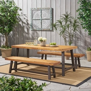 Carlisle Outdoor Modern Industrial 3 Piece Acacia Wood Picnic Dining Set with Benches by Christopher Knight Home