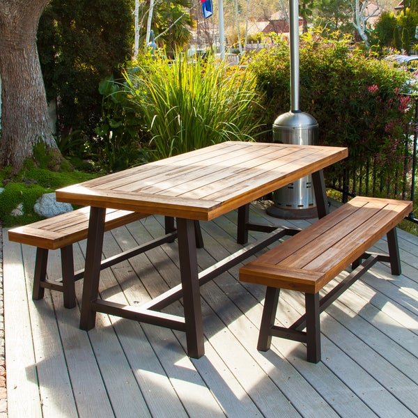 Exceptional Carlisle Rustic Metal 3 Piece Outdoor Dining Set By Christopher Knight Home    Free Shipping Today   Overstock.com   16061843