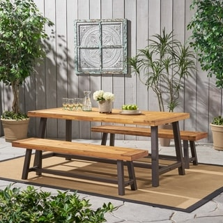 Carlisle Rustic Metal 3-piece Outdoor Dining Set by Christopher Knight Home & Outdoor Dining Sets For Less   Overstock.com