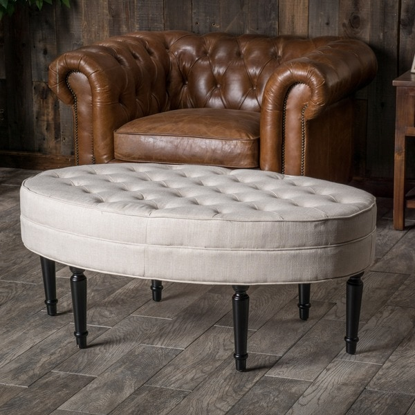 Shop Fielding Light Beige Fabric Oval Ottoman By