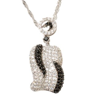 Sterling Silver Black Spinel and White Zircon Pendant Necklace