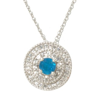 Sterling Silver White Zircon and Blue Apatite Pendant