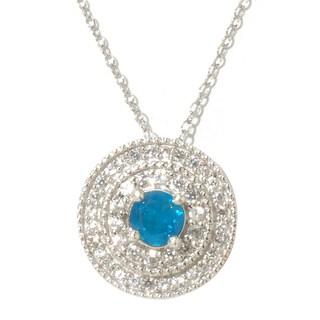 Sterling Silver White Zircon and Blue Apatite Pendant