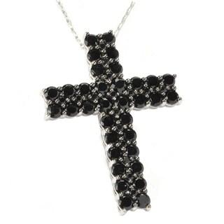 Sterling Silver Black Spinel Cross Pendant Necklace
