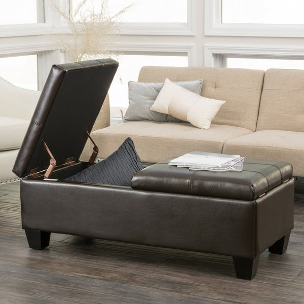 merrill double opening chocolate brown leather storage ottoman by christopher knight home - Brown Leather Ottoman