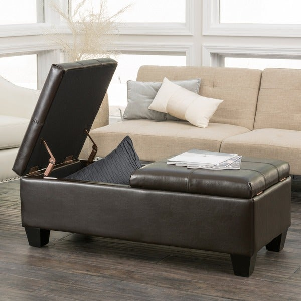 Merrill Double Opening Chocolate Brown Leather Storage Ottoman By  Christopher Knight Home