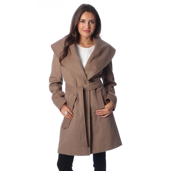 Larry Levine Women's Petite Oatmeal Belted Wrap Coat - Free