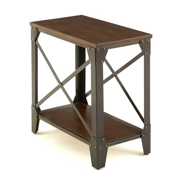 windham solid wood and iron rustic chairside table by