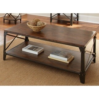 Greyson Living Windham Brown Solid Birch and Iron Rustic Coffee Table