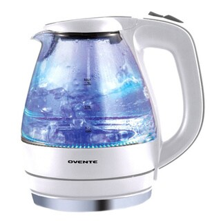 Ovente KG83W White 1.5-liter BPA Free, Cordless Electric Glass Kettle