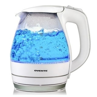 Ovente KG83W White 1.5-liter BPA Free, Cordless Electric Glass Kettle