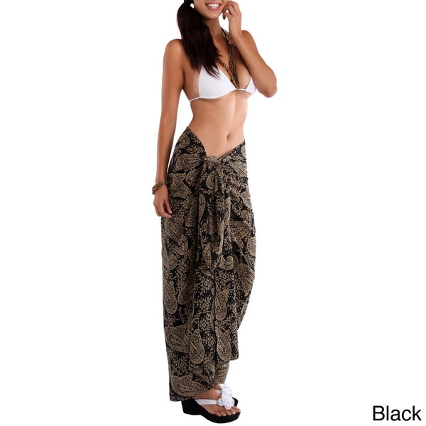 Fringeless Women's Paisley Rayon Sarong (Indonesia)