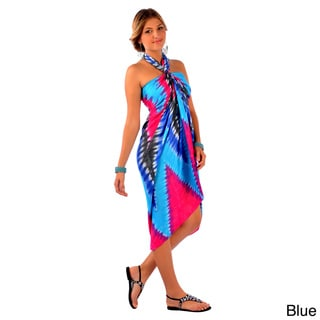 1 World Sarongs Women's Handmade Chevron-print Tie Dye Sarong (Indonesia)