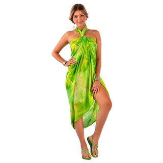 1 World Sarongs Women's Handmade Lime Green Tie Dye Rayon Sarong (Indonesia)