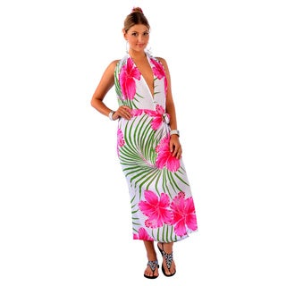 Handmade 1 World Sarongs Women's Hawaiian Plus Pink/ Green Sarong (Indonesia)