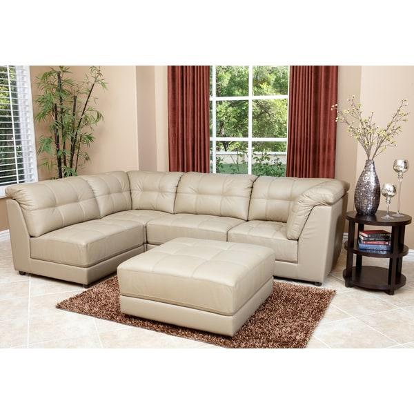 Abbyson living emma 5 piece beige modular italian leather for Abbyson living delano sectional sofa and storage ottoman set