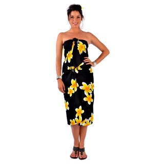Handmade 1 World Sarongs Women's Hawaiian Plus Yellow/ Black Floral Sarong (Indonesia)