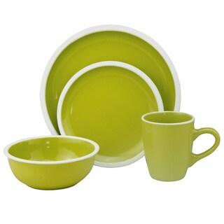 Lorren Home Trends Two-tone Green/ White 16-piece Stoneware Set
