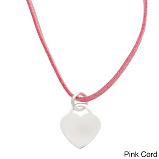 Sterling Essentials Silver 24-inch Engraveable Heart ID Suede Cord Necklace