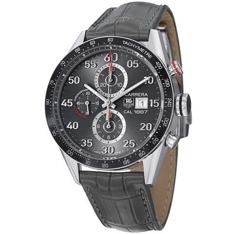 Tag Heuer Men's CAR2A11.FC6313 'Carrera' Grey Leather Grey Leather Strap Watch
