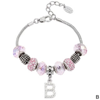 La Preciosa Silvertone Pink Glass and Crystal Beads Initial Charm Bracelet (4 options available)
