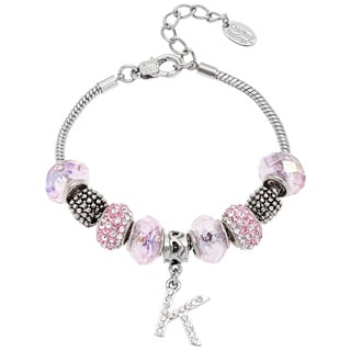 Link to La Preciosa Silvertone Pink Glass and Crystal Beads Initial Charm Bracelet Similar Items in Bracelets