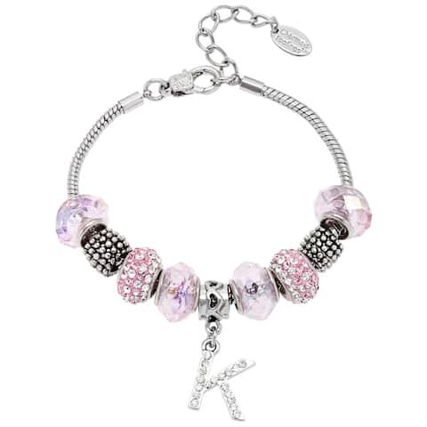 La Preciosa Silvertone Pink Glass and Crystal Beads Initial Charm Bracelet