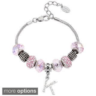 La Preciosa Silvertone Pink Glass and Crystal Beads Initial Charm  Bracelet