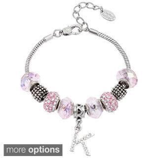 La Preciosa Silvertone Pink Glass and Crystal Beads Initial Charm Bracelet https://ak1.ostkcdn.com/images/products/8830577/La-Preciosa-Silvertone-Pink-Glass-and-Crystal-Beads-Initial-Charm-Bracelet-P16062037.jpg?impolicy=medium