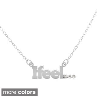 "Amanda Marmer Sterling Silver ""I Feel"" Diamond Accent Pendant Necklace"