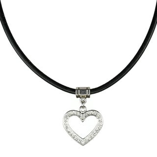 Jewelry by Dawn Greek Leather Open Rhinestone Heart Necklace