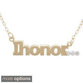 "Amanda Marmer Sterling Silver Inspirational Words ""I honor"" Diamond Accent Necklace"