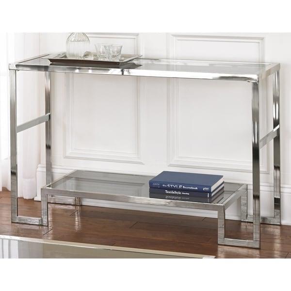 Greyson Living Cordele Chrome and Glass Sofa Table
