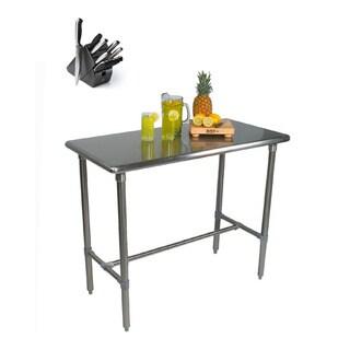 John Boos Cucina Americana Classico 48x30x36 Table BBSS4830 & Henckels 13-piece Knife Block Set