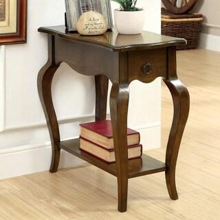 Furniture of America Cier Vintage Oak Solid Wood Storage Side Table